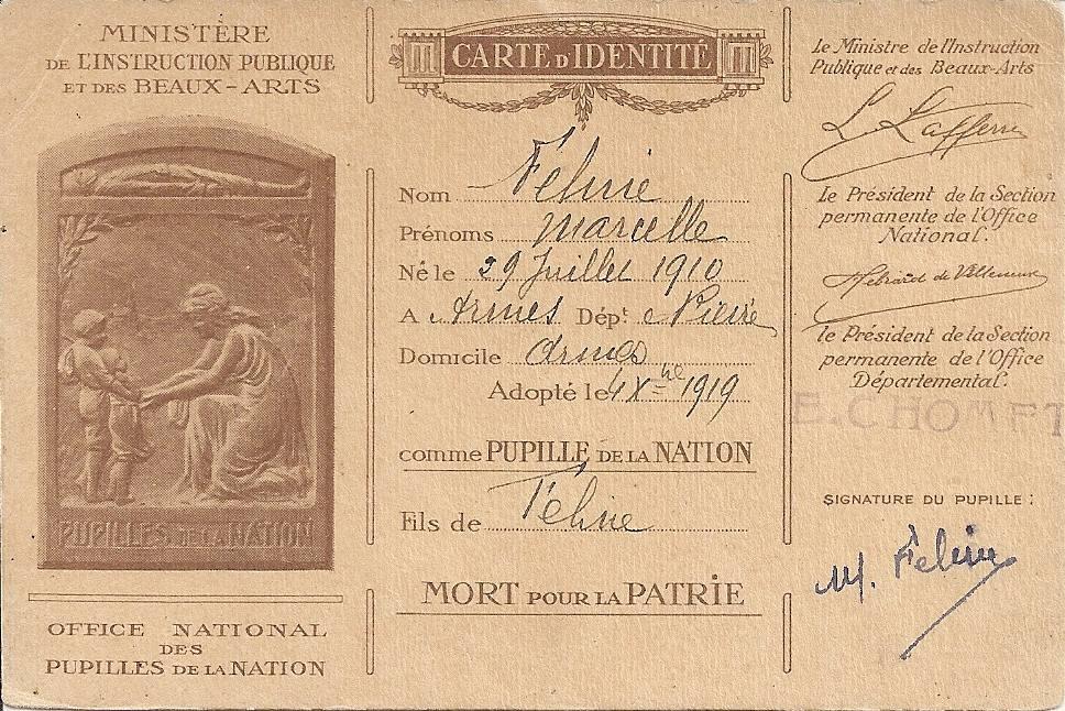 carte pupille Marcelle Féline